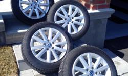 Set of four (4) Continental winter tires (205/55 R16) with alloy rims - used on a 2012 VW Jetta and very good tread remaining