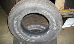 SELLING A COMPLETE SET OF COOPER DISCOVERY TIRES  SIZE IS 245/75/16 , EXCELLENT FOR YOUR PICK UP  SELLING ALL FOUR FOR 450. WILL INCLUDE INSTALLION ON YOUR RIMS .. ALL IN EXCELLENT CONDITION WITH APPROX 90% TREAD LIFE LEFT ..