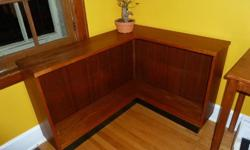 """Danish Mid-Century Modern Design Very unique 'L' shaped design L shape long end 43 3/4 """" and short end is 35 1/2"""" Detailed edging, and beautiful teak grain. Adjustable shelving. (one piece L shaped shelf) A beautiful way to efficiently use corner space."""