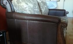 Lightly used leatherette with wood trim, excellent condition. Can contact me at 613 324 3061.