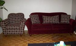 -soft chenille type upholstery - contemporary style -set too big for new apartment -asking $500.00 firm for the set
