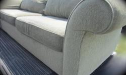 Skylar Peplar Couch and love seat. Great shape, some pilling but can be easily removed with a razor. Very Comfy! Great for cottage or students. Sage /grey colour. $150 if picked up by wed