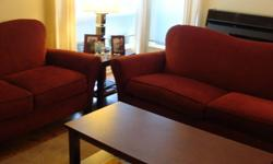 Red couch and loveseat. In good condition. Couch measures 83 inches across, and loveseat is 64 inches. Well made, by Rowe Furniture. $400 for the set. Must sell! In Ladner.