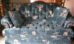 Beautiful blue-green matching couch and loveseat with wood trim across top of back. In excellent condition, very comfortable to sit on and in a non-smoking home.    The set was purchased approx. 5+ years ago from Nelson's in Yarmouth.  Pick up before