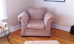 3 years old, excellent condition  2 cushion couch comes with 2 toss cushions large ottoman large chair Material Chenille Taupe wood legs