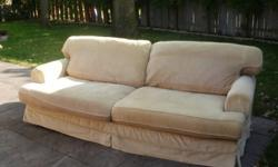 """2 Couches for sale.  Asking $300 ea or $500 for both.  They are made in Canada.  7'10"""" long and 3'3"""" wide.  Slip covered for easy cleaning.  Like new! We are selling because they are too big for our current home."""