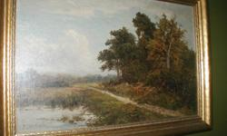 """Lovely country scene painted in oil on canvas by listed artist Daniel Sherrin. Beautiful frame and in excellent condition. Overall size including frame is approximately 20"""" x 29"""". Near Smiths Falls, Telephone 613-2834198"""