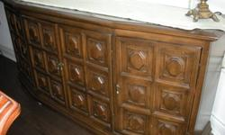 """Can be used in dining room or office Solid wood -- four doors - 2 small drawers inside middle doors 31"""" high - 18"""" deep - 66"""" long Location - Briar Hill -- Hwy 89 & C.W. Leach Road"""