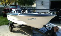14 1/2 ft new steering cable, carbs an bottom end rebuilt works well have minnkota trolling motor 52 pounds thurst foot controlled, brand new used once all safety equipment asking $1350  just have no time for it call 519 354 3149  fish finder also