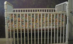 """Storkcraft Jenny Lind white crib with mattress; bumper pads, and fitted sheet """"ABC print"""""""