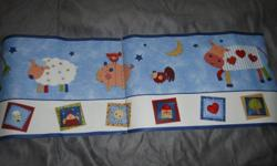 Adoreable farm themed baby bedding for sale! KIDS Line Country Stack.  7 items included.  Quilt, Bumper, Fitted Sheet, Dust Ruffle, Musical Mobile, Window valance, and Wall Border.  Brand new, never been used.  Asking price $130.00.