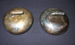 """2 vintage silver plated curling trophies """" Palmer Dairy"""" from early 60's.   Remove tops to reveal glass butter or candy holder.  $120 or BO for both.  phone only 705 945 5363"""