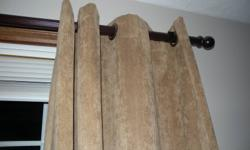 2 sets of brown ultrasuede curtains.  $20 per set.  Heavyweight, like new!