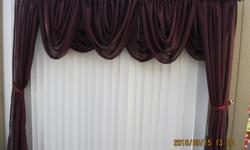 Curtains. These curtains will fit a window 4 feet to 9 feet. There is valances and side drapes, rods, brackets and tie backs All for $50.