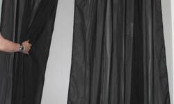 Black sheer 7 plus feet high see close up picture for curtain and rod details