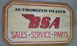 Custom hand crafted vintage and retro styled motorcycle signs for your garage or shop. These motorcycle signs make excellent gifts for motorcycle enthusiasts. These are my shop display signs. Need the wall space for new creations. 1-Triumph 1-BSA