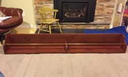 """Offering a solid wood custom made bar rail equipped with a brass rod. Measures 73"""" X 8"""" X 10"""" (h) Great for displaying a scotch collection. Will deliver inside the greenbelt."""