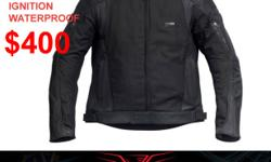 $400.-  RIVET IGNITION WATERPROOF JACKET   $500.-  FOR DAINESE RACE PELLE JACKET   $899.-  DAINESE STRIPES 1 PC. RACE SUITS $1098.-  LAGUNA SECA 1 PC. SUITS BLK & WHT.                  TAXS INCLUDED   CALL FOR SIZING   CGR : 416 702 2995