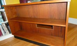 """Danish Teak Bookshelf Unit Dimensions: 43.5"""" W x 29.5"""" H x 10.5 Deep Only $225 rectangular opening on the back-board (see lower shelf) for sound system etc."""