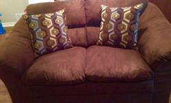 Like new dark chocolate love seat microsuede fabric, treated. Pick-up only.