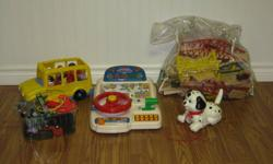Various toys for sale. Prices range from $2.-$8. Large bag of Lego, walking and barking dog, educational toys, See and Say, etc. (Sorry, train set sold) Please email or call to come and have a look.