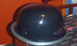 2 DAYTONA MOTORCYCLE HELMETS, BOTH GERMAN WAR STYLE, GLOSS BLACK, THE L SIZED ONE WAS WORN ONCE, THE XL SIZE HAS NEVER BEEN WORN, NEW IN BOX, BOTH COME WITH HELMET BAGS. $30 EACH.