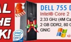 DELL Optiplex 755 Desktop PC  Processor: Intel® Core? 2 Duo (VT-x, Intel® 64, ITET, EIST) Speed:  2.33GHz E6550 (4M Cache, 1333MHz FSB) Memory:  2 GB DDR2 Hard Drive:  80 GB SATA Optical Drive:  DVD-ROM Network:  Intel® 82566DM Gigabit LAN 10/100/1000