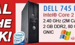 DELL Optiplex 745 Desktop PC  Processor: Intel® Core? 2 Duo (Intel® 64, ITET, EIST) Speed:  2.40 GHz E46000 (2M Cache) Memory:  2 GB DDR2 Hard Drive:  80 GB SATA Optical Drive:  DVD-ROM Network:  Broadcom® 5754 Gigabit LAN 10/100/1000 Operating System: