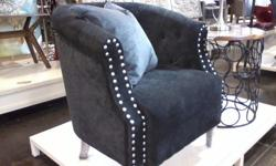 Deco Style Chair in black micro-suede with hammerhead detail accents. Purchased recently from HomeSense. New and never used. Asking $180.00 Cocoa Brown Damask Chair with hammerhead detail accents. Purchased at HomeSense. Never used. Asking $199.00 Please