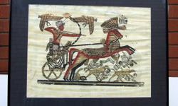 """For Sale: Egyptian Pharaonic Painting on Papyrus - Chariot. Professionally framed by Koyman Galleries. Frame measures 16"""" x 20"""". All purpose frame - Black metal. Inside frame, the print measures 11 ½"""" x 15"""". Comes from a non smoking environment. Located"""
