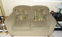 We are offering a contemporary style decorest love seat and two matching micro-fibre arm chairs. Brown shades. Love seat has two matching pillows.   Love seat - $175.00   Arm chairs - $75.00 a piece SOLD   please contact us for any questions or arrange to