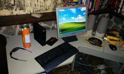 I have for sale a complete dell desktop system . Windows XP, i am going upgrade to Windows 7. Intel 3.06 GHz, 2gb RAM 160gb HD. Comes with the flat screen , wireless keyboard, wireless mouse, printer, scanner, big speakers...Works 100% with no issues at