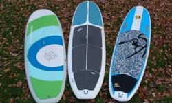 """Thinking about a SUP for next spring, pick up some great demo boards at great pricing to get on the water this fall and first thing in the spring.... Boards Boardworks 9'11"""" - Joyride $900 (left) Boardworks 11' - EPX  $925 (middle) C4 10'6"""" - Classic"""