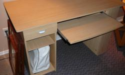 I have a birch coloured desk for sale. It has a bookshelf on the end, and drawer/spot for CPU and a keyboard drawer.