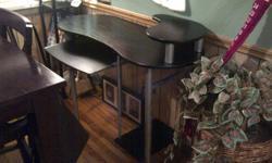 desk For Sale Black and silver pull out keyboard shelf, monitor shelf, yower self good shape $40