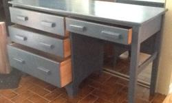 "Blue Desk in very good condition with 3 large drawers and 52"" wide. This is a very sturdy desk. Local delivery available for a small fee. Asking $70 obo Check out my other ads for more neat furniture etc..."