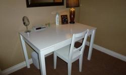 Bedroom Desk (with drawer), chair, bookcase.  White.  Very Good Condition.  Desk = $50, Bookshelf = $25.