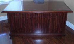 """Desk and credenza, walnut finish Desk : 60"""" length x 30"""" high x 30"""" deep Credenza : 40 length x 30"""" high x 21"""" deep Excellent condition. No scratches on desk or credenza top. Desk has two lateral filing drawers and two pull out drawers one on each side."""
