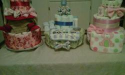 Offering Diaper cakes for sale in Prince Albert, used with reusable diapers and many other useful items great for a baby shower gift!   Large Cakes have 40+ Diapers and are 45 dollars Smaller Cakes have approx 20 diapers and are 20 dollars Can also make