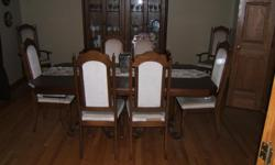 For Sale dining room set which includes hutch, table and eight chairs. Two chairs have arm rests. In good condition. If interested call 705-945-9967
