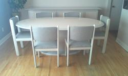 Dining room set in lacquered wood beige with grey contour (Europeen style 80's) including one oval table (78x46) 6 chairs and a buffet (98x20). No handles on the buffet you have to press the doors and drawers to open up. Great condition. Ensemble de salle