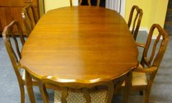 """For sale dining room suite (provincial style), and hutch/china cabinet table measures 40x60 with 2-15"""" leaves. 6 chairs.  For more information call 306 773-6937"""