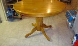 Selling a dining room table, w/ leaf extension, has no chairs. Has normal wear and tear from daily use from the last 6 years we've owned it.  Bought new set to replace, due to the chairs falling apart over time, nice table. We decided to go with a