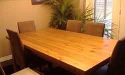 I have a dining table for sale. measurements are  39W x 71 L - solid table top is 1 3/4 inch thick medium oak stain table legs are 4x4