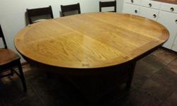 48x65 inches solid oak table good condition. Call Jean at 306-545-1808.