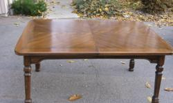"""Solid Wood Dining Room Table.... dimensions 60"""" by 42"""" by 30"""" high   24"""" removable leaf   6 Captains Chairs... cloth seats   Two piece Hutch.....60"""" by 18 """" wide by 78 """" high....glass doors in upper   Open to reasonable offers."""