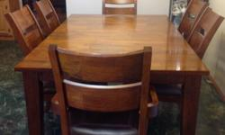 """For sale twelve hundred or best offer. Table is 72""""x44"""" solid mango wood with 24"""" centre piece, two captains chairs and four side chairs. Call 705 7595861 to view."""