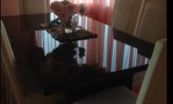 Black laquer dining table with 6 chairs