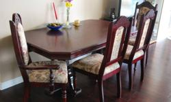 Selling cherry coloured wooden Dinning Table, 6 Chairs at a rock-bottom price. The furnitures are in excellent condition!! Dinning Table Dimensions Height = 29 inches Width = 39 inches Length = 67.5 inches Extention: Lenght = 39 inches and Width = 14.5