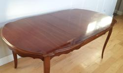 """Table with 2 leaves. Fair condition, like most used tables this would benefit by being refinished or throw on a tablecloth and enjoy as is :) 49 1/2"""" long, 38"""" wide, 30 1/4"""" high 69 1/2"""" long with 2 10"""" leaves installed Located in Mill Bay, 30 min north"""